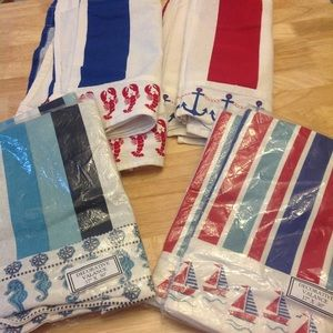 Beach Nautical Curtains 8 valances 17x50, new/LNew